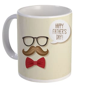 Coloryard Best Happy Fathers With Tie;Chasma And Tie Design On White Ceramic Coffee Mug Father Day Gift
