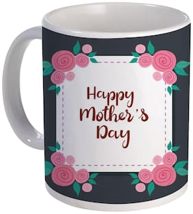 COLORYARD best happy mother's day card with square frame flowers decoration on white ceramic coffee mug gift
