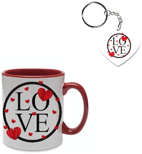 Coloryard best happy valentines day gift weeding-design-elements design on maroon inner handle ceramic coffee mug with heart keychain gift