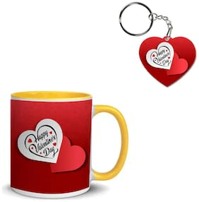 Coloryard Best Happy Valentines Day Gift With-Red-Pattern-Background On Yellow Inner Handle Ceramic Coffee Mug With Heart Keychain Gift