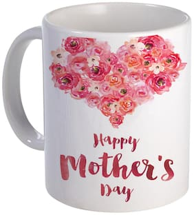 Coloryard Best Happy Mothers Day With Flower Shape Heart Design On White Ceramic Coffee Mug Mother Day Gift