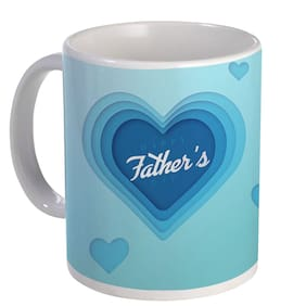 Coloryard Best Happy Fathers Day Unique Gift For Papa With Blue Heart Desing On White Ceramic Coffee Mug Father Day Gift