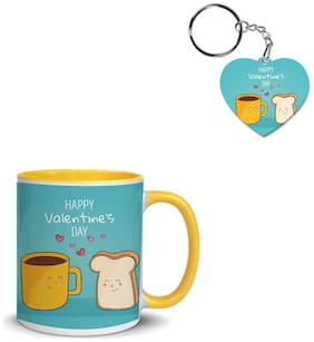 Coloryard Best Happy Valentines Day Gift Hand-Drawn Design On Yellow Inner Handle Ceramic Coffee Mug With Heart Keychain Gift
