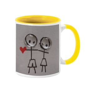 Coloryard Best Couple Holding Heart Happy Karwa Chauth On Yellow Inner Handle Ceramic Coffee Mug Gift
