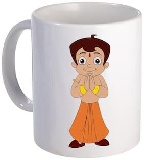 COLORYARD best Chhota Bheem with raise hand design on white ceramic coffee mug cartoon gift