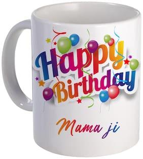 COLORYARD best happy birthday Mama ji with ballons design on white ceramic coffee mug