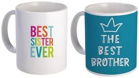 Coloryard Best Sister Ever And The Best Brother Color Ful Text Design On Ceramic Coffee Mug Gift