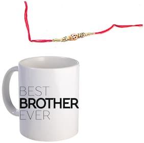 Coloryard Best Brother Ever Design On White Ceramic Coffee Mug With Rakhi Gift