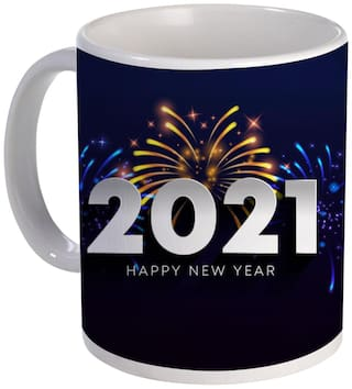 Coloryard Best Happy New Year Mug Gift Fireworks 2021 Design On White Ceramic Coffee Mug Gift