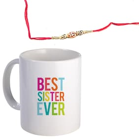 Coloryard Best Best Sister Ever Colorful Text Design On White Ceramic Coffee Mug With Rakhi Gift