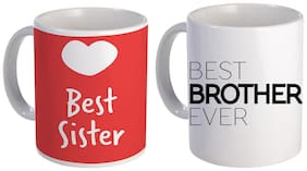 Coloryard Best Sister And Best Brother Ever Text Design On Ceramic Coffee Mug Gift