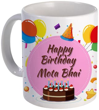 COLORYARD best happy birth day Mota-Bhai with Cake;Balloons and pink color design on white ceramic coffee mug gift