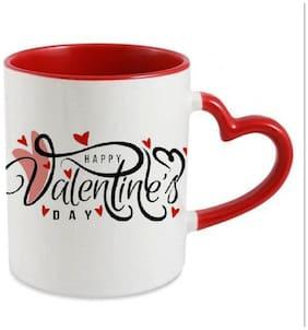 Coloryard Best Happy Valentines Day Gift Elegant Love Design On Red Heart Inner Handle Ceramic Coffee Mug Gift