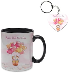 Coloryard Best Happy Valentines Day Gift Cute Background With Happy Young Couple Design On Black Inner Handle Ceramic Coffee Mug With Heart Keychain Gift