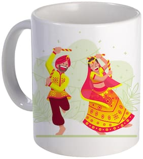 Coloryard Best Couple Playing Dandiya With Multi Color Design On