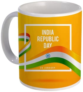 Coloryard Best India Republic Day 26 January With Flag Design On Ceramic Coffee Mug