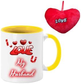 COLORYARD best I love u my husband Happy Karwa Chauth on yellow inner handle ceramic coffee mug and red heart gift