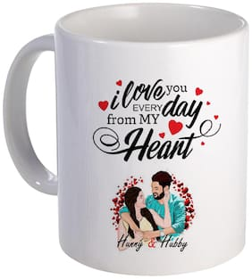 COLORYARD best happy karwa chauth love quotes with sweet couple design on white ceramic coffee mug gift