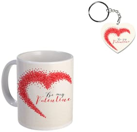 Coloryard Best Happy Valentines Day Gift Creative Heart Background Design On White Ceramic Coffee Mug With Heart Keychain Gift