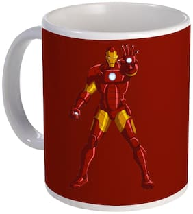 COLORYARD best Iron man printed movie character design with red background color on white ceramic coffee mug gift
