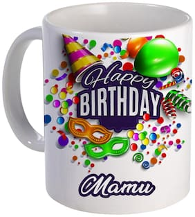 COLORYARD best happy birthday Mamu with birthday gift design on white ceramic coffee mug