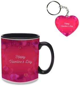 Coloryard Best Happy Valentines Day Gift Blurred Valentines Design On Black Inner Handle Ceramic Coffee Mug With Heart Keychain Gift