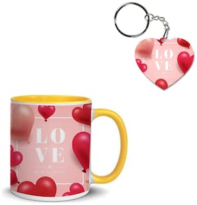 Coloryard Best Happy Valentines Day Gift With Love Text Design On Yellow Inner Handle Ceramic Coffee Mug With Heart Keychain Gift