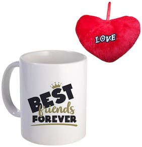 Coloryard Best Hppy-Frindship-Dy-Bst Frinds Forvr Dsign With Crown With Red Heart On White Ceramic Coffee Mug Gift