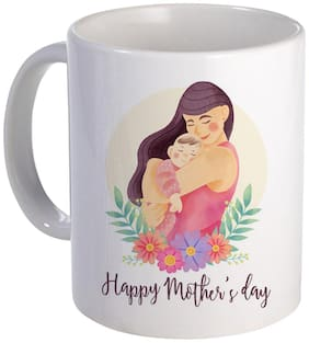 COLORYARD best watercolor happy mother's day design with mom and baby on white ceramic coffee mug gift