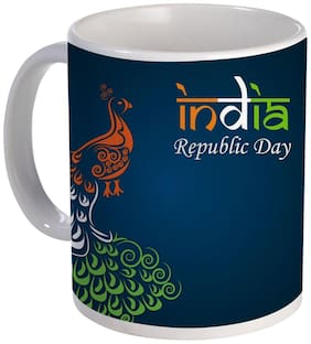 Coloryard Best Happy Indian Republic Day With Tricolor Peacock Design On Ceramic Coffee Mug