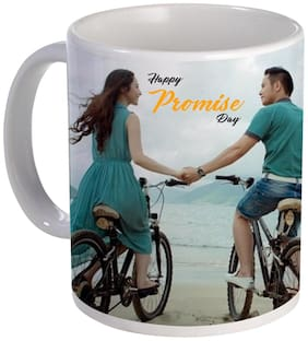 Coloryard Best Happy Promise Day Couple With Cycle Nice Design On White Ceramic Coffee Mug