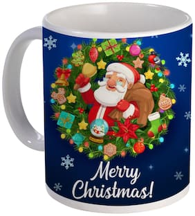 Coloryard best happy merry christmas with christmas-wreath-with-santa-xmas-bell-gift-bag design on white ceramic coffee mug gift