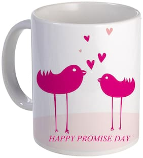 Coloryard happy promise day mug gift with love bird on white ceramic coffee mug