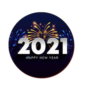 COLORYARD circle wooden coaster fireworks 2021 design on for new year gift