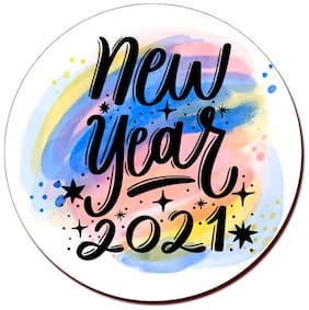 COLORYARD circle wooden coaster happy-new-year-2021-lettering design for new year gift