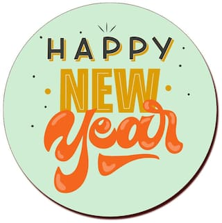 COLORYARD circle wooden coaster new year design on for new year gift