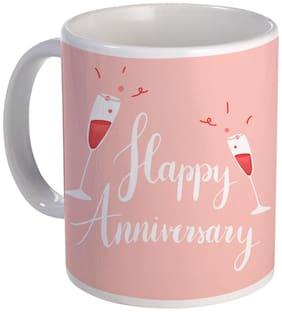Coloryard happy anniversary design on white ceramic coffee mug gift