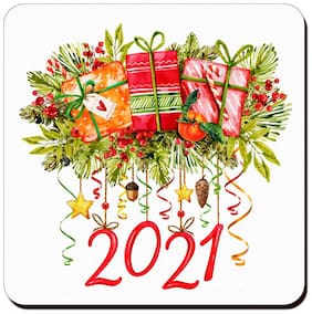COLORYARD square wooden coaster watercolor design for new year gift
