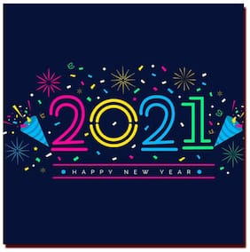 COLORYARD square wooden coaster flat design new year 2021 on for new year gift