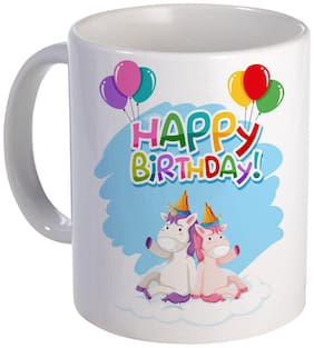 Coloryard Unicorn Birthday Design On White Ceramic Coffee Mug Unicorn Gift