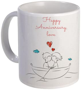 Coloryard happy anniversary love gift design with couple in boat on white ceramic coffee mug
