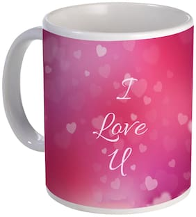Coloryard happy valentine's day design with I love you text on pink background on white ceramic coffee mug