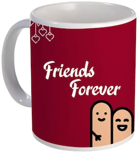 Coloryard friend forever text design on white ceramic coffee mug