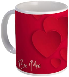 Coloryard happy valentine's day design with be mine text on white ceramic coffee mug