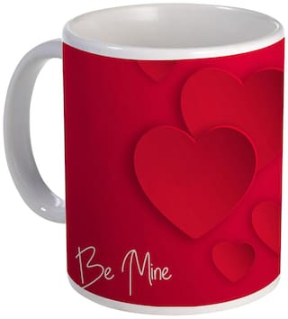 Coloryard happy valentine's day design with be mine text on white ceramic coffee mug