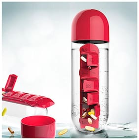 Combine Water Bottle With Removable 7 Day Pill Medicine Organizer & Drinking Cup