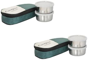 Carrolite 4 Containers Stainless steel Lunch Box - Assorted