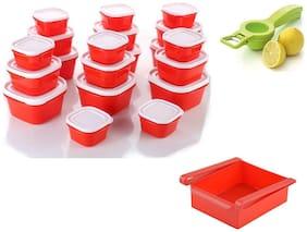 combo 20 pcs Plastic Kitchen Storage Container box Set Plastic containers Cereal Jar Food Rice Pasta + 2in1 Plastic Lemon Squeezer + Multi Purpose Fridge Storage Racks