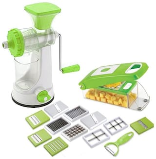 Combo Fruit & Vegetable Hand Juicer With 12 in 1 Chopper (Set Of 2)