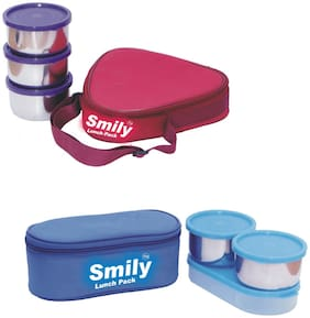 Smily Lunch Pack 6 Containers Stainless steel Lunch Box - Maroon